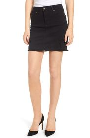 Good American Raw Edge Denim Mini Skirt