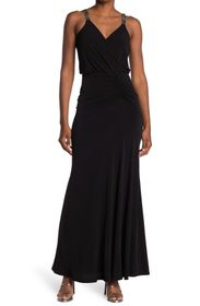 Calvin Klein Ruched Embellished Strap Gown