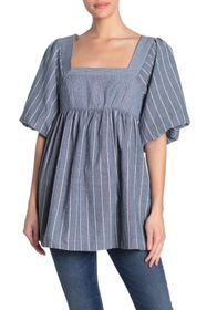 Free People Gigi Striped Puff Sleeve Tunic Top