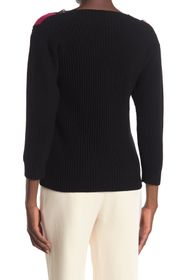 RED Valentino Lace Trim V-Neck Wool Sweater