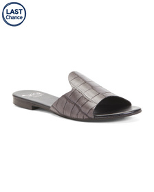 Made In Italy Leather Croc Slide Sandals