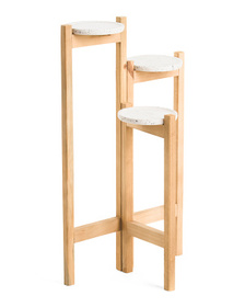30in Terrazzo Wood 3 Tired Planter Stand