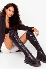 Nasty Gal Black Faux Leather Cleated Over The Knee