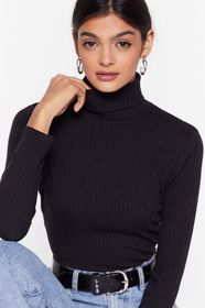 Nasty Gal Black Ribbed Fitted Turtleneck Sweater