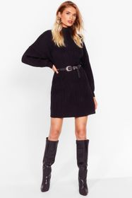 Nasty Gal Black On a Roll Knitted Turtleneck Dress