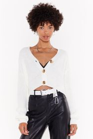 Nasty Gal Cream V Neck Button Up Cropped Cardigan