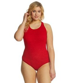 Sporti Plus Size Textured Chlorine Resistant High