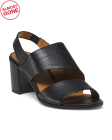 Slingback Stacked Heel Leather Sandals