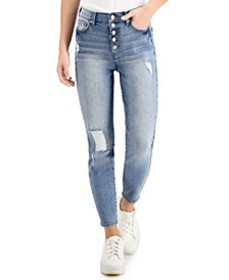 Juniors' High-Rise Curvy Exposed-Button Skinny Jea