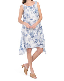 Made In Italy Linen Floral Midi Dress