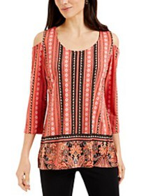 Mixed-Print Cold-Shoulder Crepe Top, Created for M