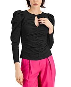 INC Puff-Sleeve Keyhole-Cutout Top, Created for Ma