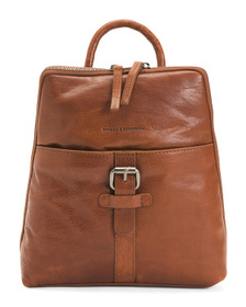 Leather Square Top Backpack With Buckle Front Pock