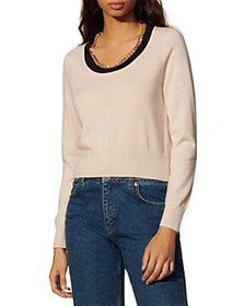 Sandro - Bradley Wool Blend Chain Trim Sweater