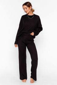Nasty Gal Black Ribbed Sweater and Pants Lounge Se