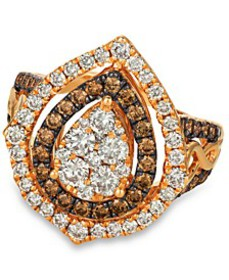Chocolate & Nude™ Diamond Cluster Halo Ring (1-9/1