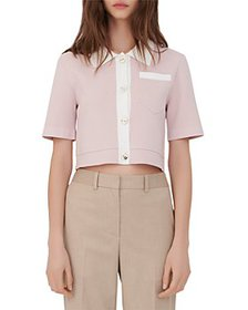 Maje - Myshirt Cropped Short Sleeve Cardigan