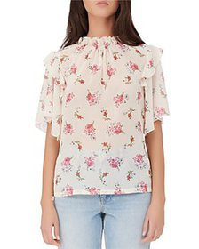 Maje - Lunge Floral Print Ruffled Top