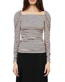 Maje - Take Striped Puff Shoulder Top