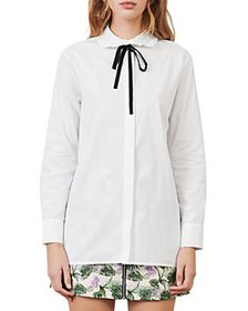 Maje - Carlie Ruffled Collar Tie Neck Blouse