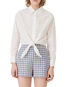 Maje - Chalise Polka Dot Shirt with Tie Hem