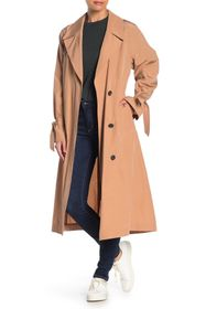 Cole Haan Woven Button Front Trench Coat