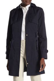 Cole Haan Detachable Hood Faux Leather Trim Trench