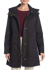 Cole Haan Solid Hooded Rain Jacket