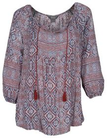 Natural Reflections Print Three-Quarter-Sleeve Pea