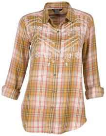 Natural Reflections Embroidered Plaid Long-Sleeve