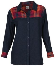 Ascend Plaid Yoke Long-Sleeve Flannel Shirt for La