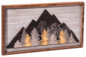 Etched Wood Mountain Wall Art