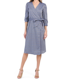 Embroidered Dot Chambray Wrap Dress