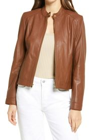 Cole Haan Double Face Zip Front Leather Jacket