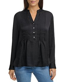 DKNY - Demi-Pleated Long Sleeve Top
