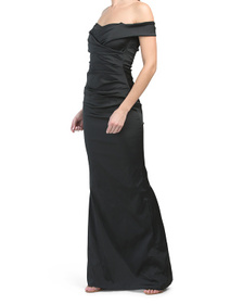 Off The Shoulder Stretch Satin Ruched Gown