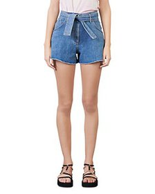 Maje - Idenim High Rise Denim Shorts with Belt in