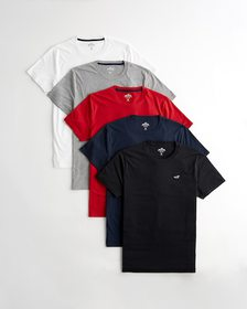 Hollister Weekday Pack - Crewneck T-Shirt, WHITE -
