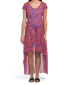 Made In Usa Maxi Abstract Floral Cover-up