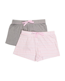 2pk Stripe And Solid Pj Shorts