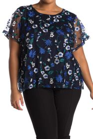 Calvin Klein Floral Embroidered Short Sleeve Top