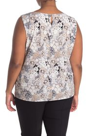 Calvin Klein Pleated Neck Floral Printed Tank