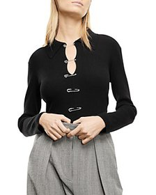 The Kooples - Safety Pin Ribbed Top