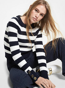 Michael Kors Striped Ribbed Cotton Sweater