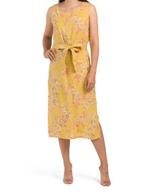 Made In Italy Linen Floral Smocked Back Midi Dress
