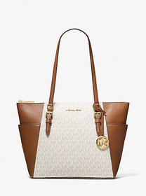 Michael Kors Charlotte Large Logo and Leather Top-