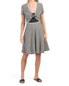 Gingham Cutout Cover-up Dress