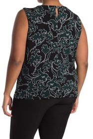 Calvin Klein Pleated Neck Floral Outline Printed T