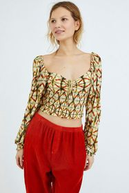 UO Old Soul Smocked Cropped Top