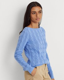 Ralph Lauren Cable-Knit Cotton Boatneck Sweater